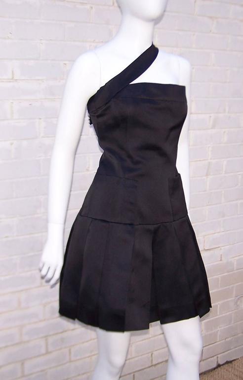 Fun & Flirty 1980's Chanel Boutique Black Silk Satin Asymmetrical Strap Dress  In Excellent Condition For Sale In Atlanta, GA