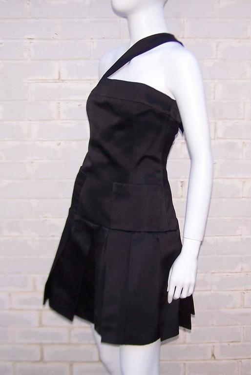Women's Fun & Flirty 1980's Chanel Boutique Black Silk Satin Asymmetrical Strap Dress  For Sale