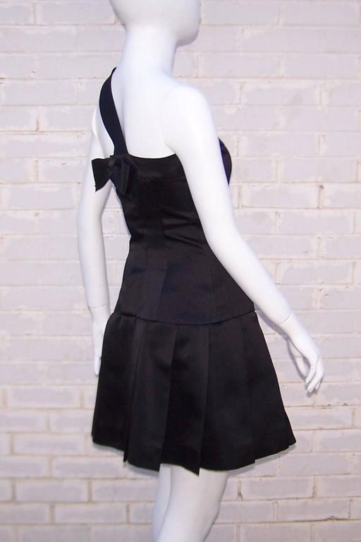 Fun & Flirty 1980's Chanel Boutique Black Silk Satin Asymmetrical Strap Dress  For Sale 1
