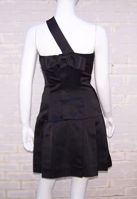 Fun & Flirty 1980's Chanel Boutique Black Silk Satin Asymmetrical Strap Dress  For Sale 2