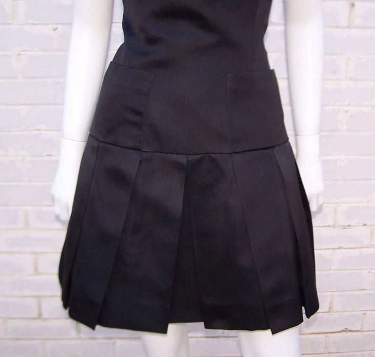 Fun & Flirty 1980's Chanel Boutique Black Silk Satin Asymmetrical Strap Dress  For Sale 3