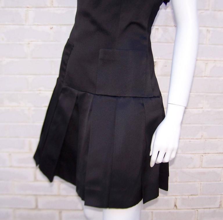 Fun & Flirty 1980's Chanel Boutique Black Silk Satin Asymmetrical Strap Dress  For Sale 4