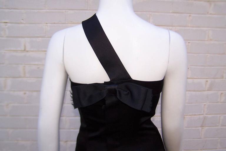 Fun & Flirty 1980's Chanel Boutique Black Silk Satin Asymmetrical Strap Dress  For Sale 5