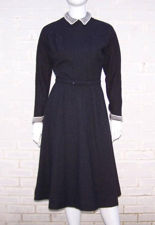 School Girl Style 1950's Charcoal Gray Wool Dress With Angora Details 2