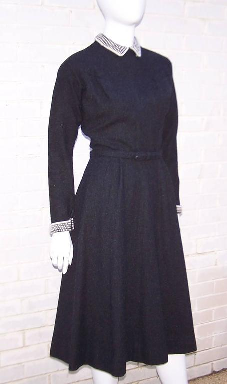 School Girl Style 1950's Charcoal Gray Wool Dress With Angora Details 3