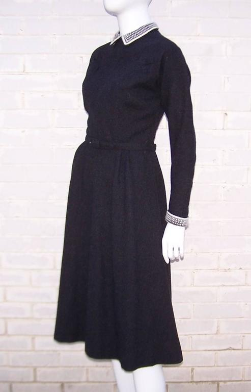School Girl Style 1950's Charcoal Gray Wool Dress With Angora Details 4