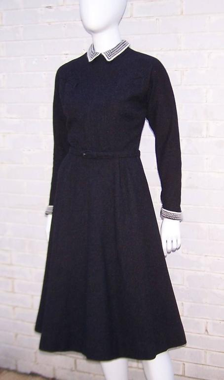School Girl Style 1950's Charcoal Gray Wool Dress With Angora Details 5