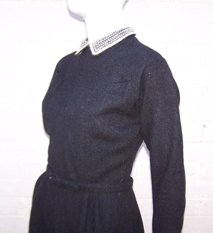 School Girl Style 1950's Charcoal Gray Wool Dress With Angora Details 8