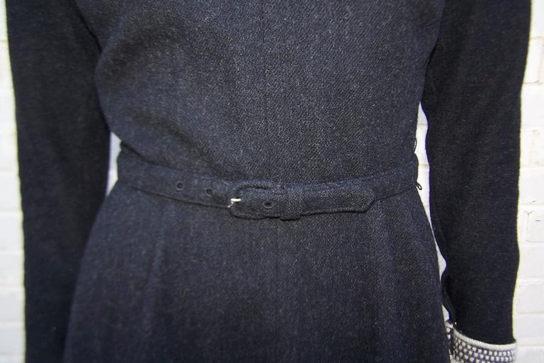 School Girl Style 1950's Charcoal Gray Wool Dress With Angora Details 9