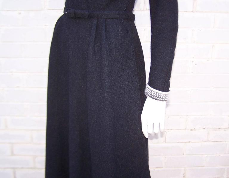 School Girl Style 1950's Charcoal Gray Wool Dress With Angora Details 10