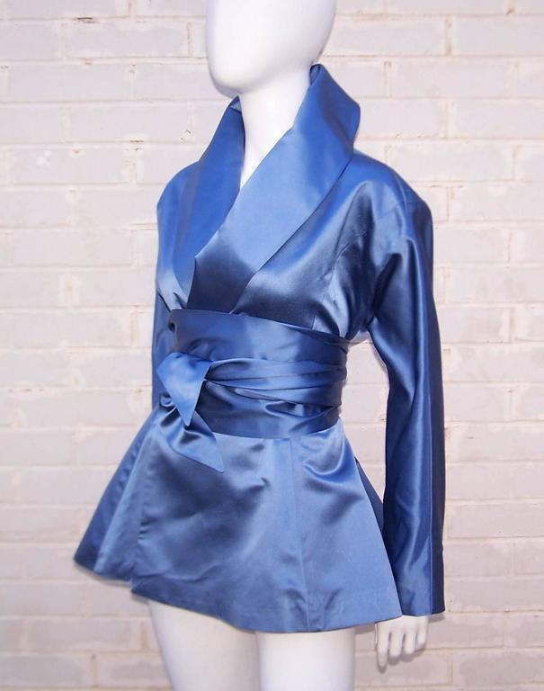 Women's 1980's Ralph Lauren Periwinkle Blue Silk Satin Peplum Jacket With Obi Sash For Sale