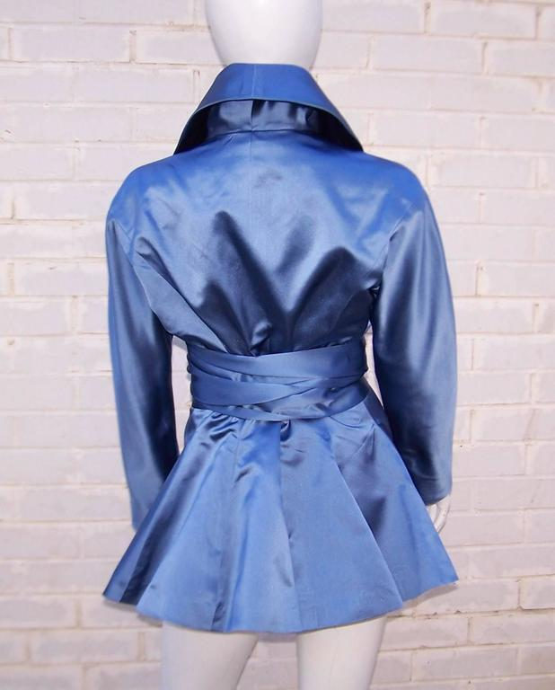 1980's Ralph Lauren Periwinkle Blue Silk Satin Peplum Jacket With Obi Sash For Sale 1
