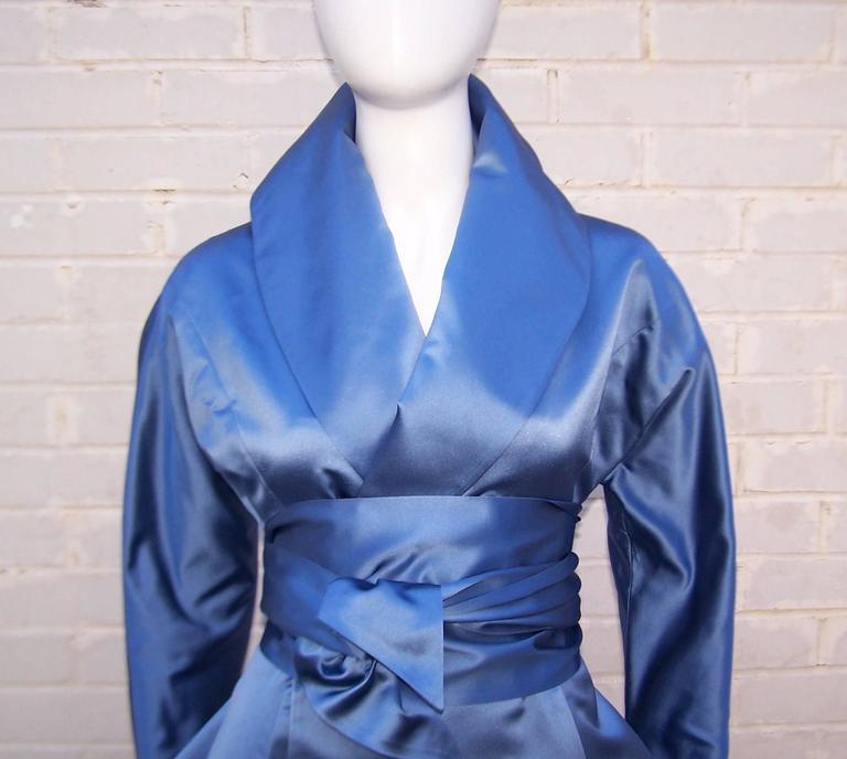1980's Ralph Lauren Periwinkle Blue Silk Satin Peplum Jacket With Obi Sash For Sale 3