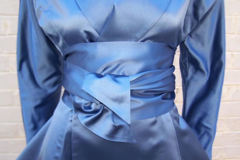 1980's Ralph Lauren Periwinkle Blue Silk Satin Peplum Jacket With Obi Sash For Sale 4