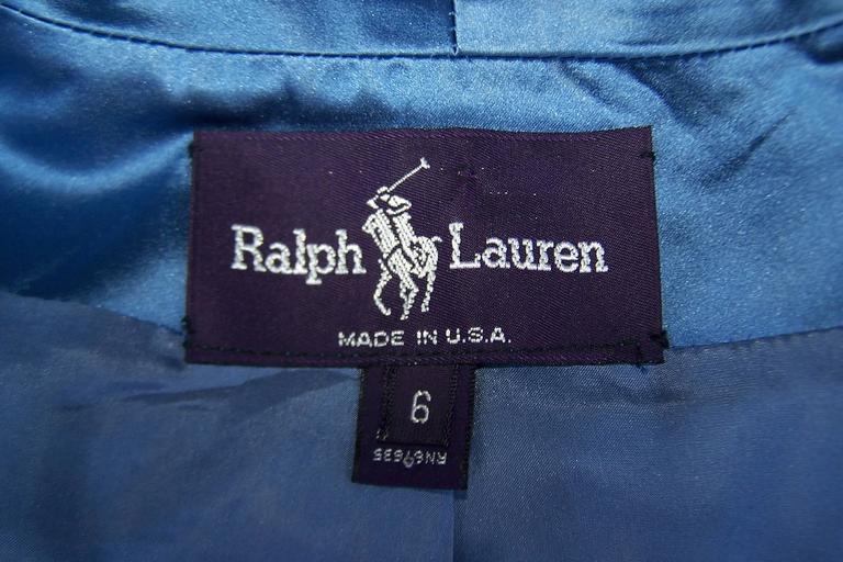 1980's Ralph Lauren Periwinkle Blue Silk Satin Peplum Jacket With Obi Sash For Sale 6