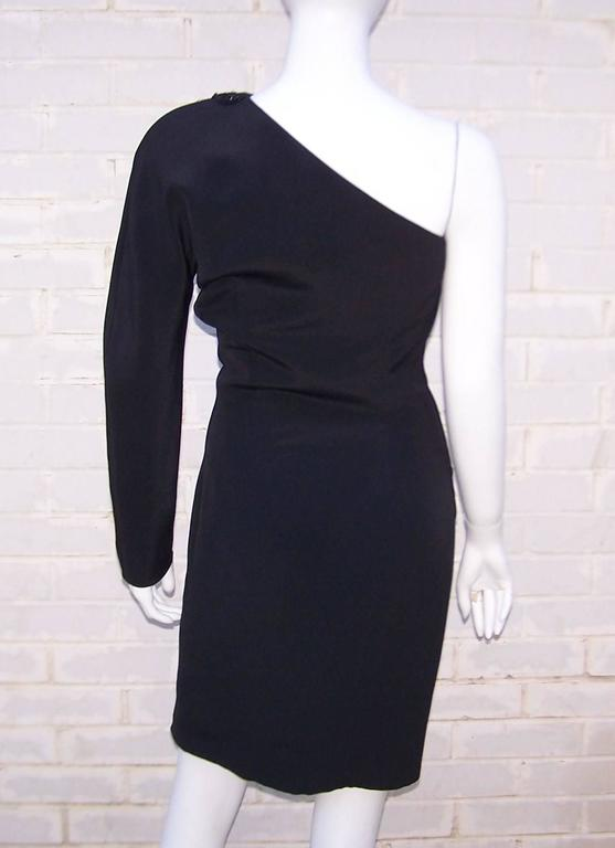 C.1980 Gucci Femme Fatale One Shoulder Black Silk Dress With Beading In Excellent Condition For Sale In Atlanta, GA