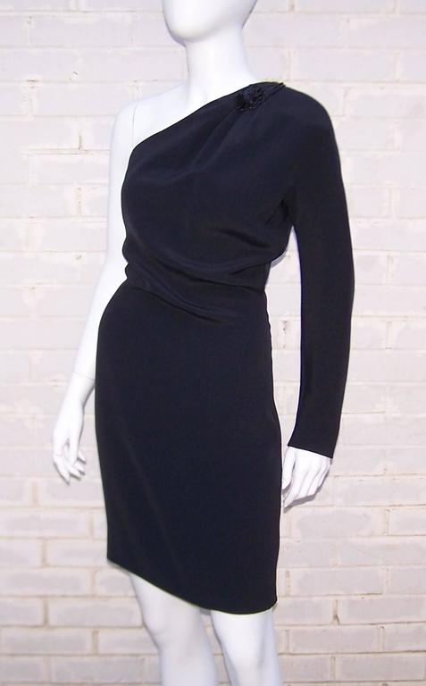 Women's C.1980 Gucci Femme Fatale One Shoulder Black Silk Dress With Beading For Sale
