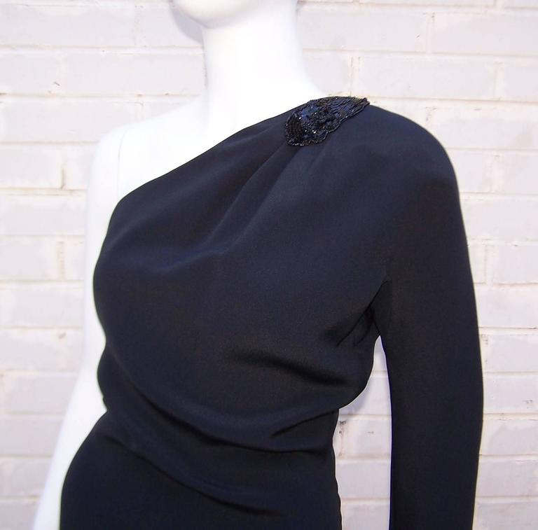 C.1980 Gucci Femme Fatale One Shoulder Black Silk Dress With Beading For Sale 1
