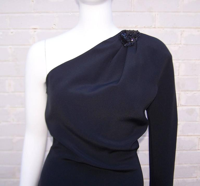 C.1980 Gucci Femme Fatale One Shoulder Black Silk Dress With Beading For Sale 2