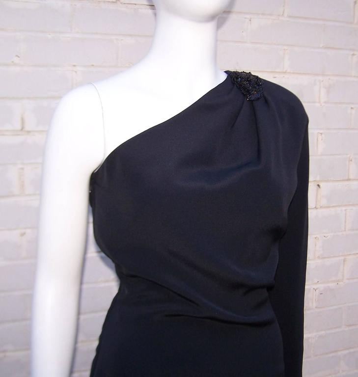 C.1980 Gucci Femme Fatale One Shoulder Black Silk Dress With Beading For Sale 3