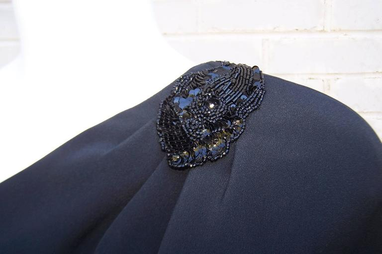 C.1980 Gucci Femme Fatale One Shoulder Black Silk Dress With Beading For Sale 5