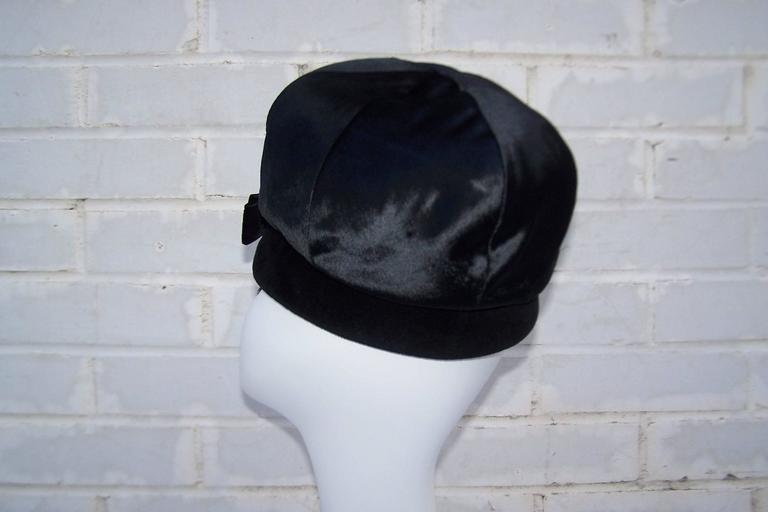 Mod 1960's Mr. John Jr. Black Faux Fur & Velvet Hat With Bow For Sale 3