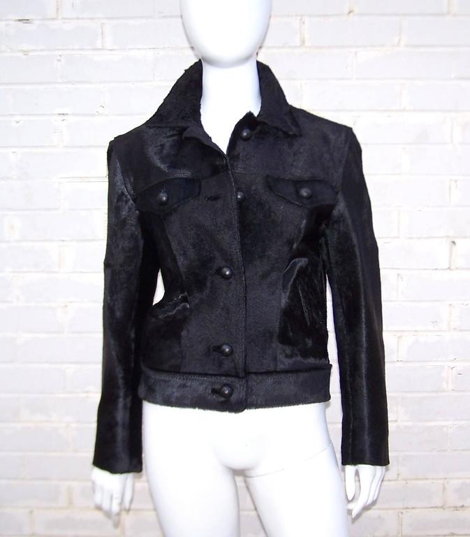Fierce 1990's Gianni Versace Black Pony Hair Denim Style Jacket  2
