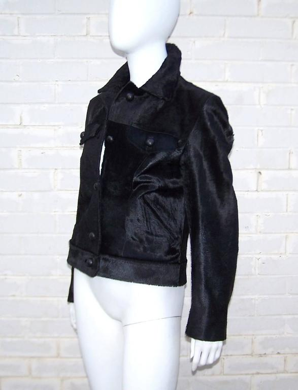 Fierce 1990's Gianni Versace Black Pony Hair Denim Style Jacket  4