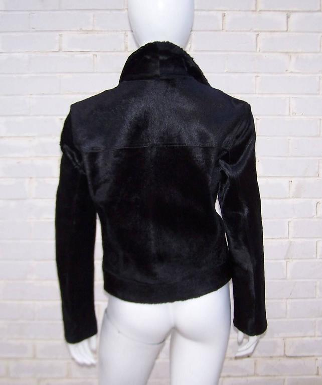 Fierce 1990's Gianni Versace Black Pony Hair Denim Style Jacket  5