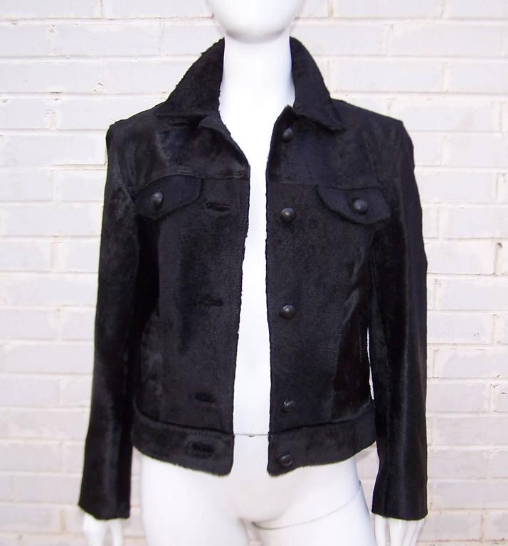 Fierce 1990's Gianni Versace Black Pony Hair Denim Style Jacket  6