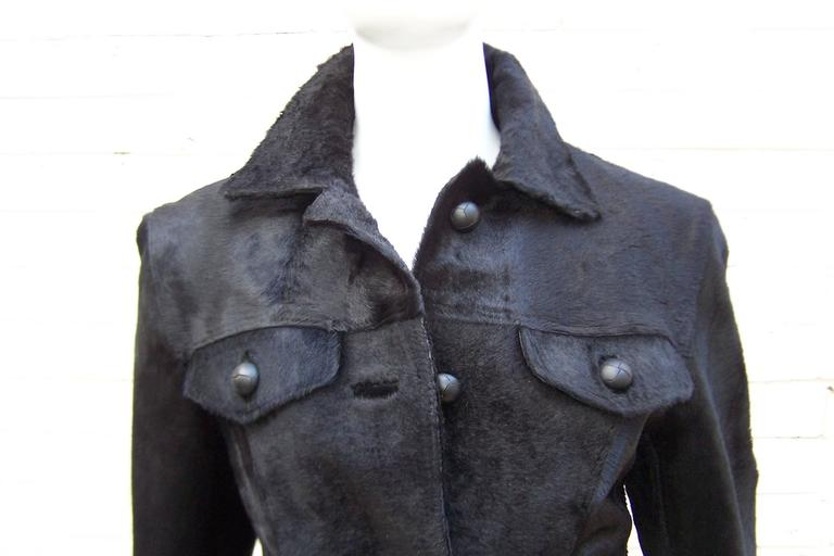 Fierce 1990's Gianni Versace Black Pony Hair Denim Style Jacket  7