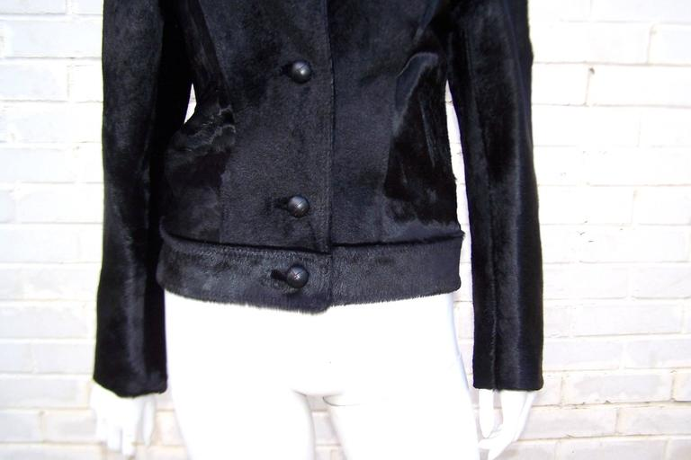 Fierce 1990's Gianni Versace Black Pony Hair Denim Style Jacket  8