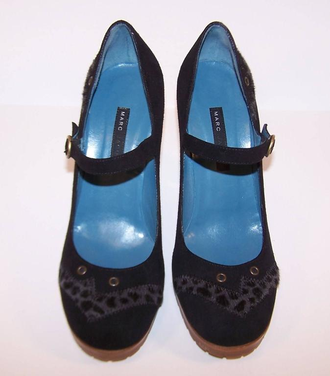 Wild & Woolly Marc Jacobs Black Suede Mary Jane Shoes With Animal Print Trim In Good Condition For Sale In Atlanta, GA
