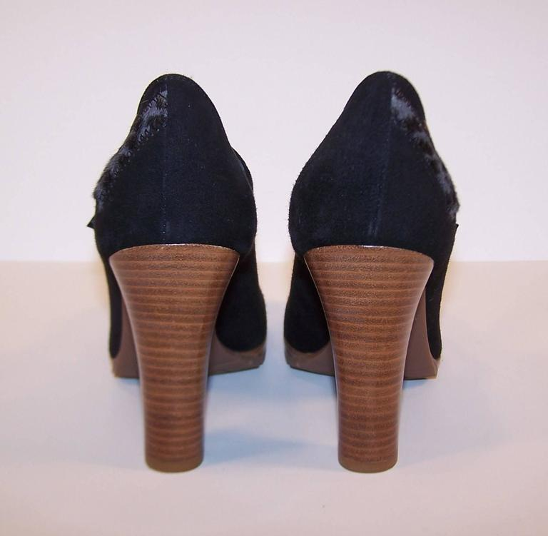 Women's Wild & Woolly Marc Jacobs Black Suede Mary Jane Shoes With Animal Print Trim For Sale