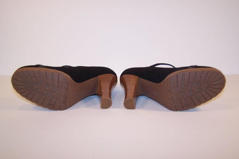 Wild & Woolly Marc Jacobs Black Suede Mary Jane Shoes With Animal Print Trim For Sale 1
