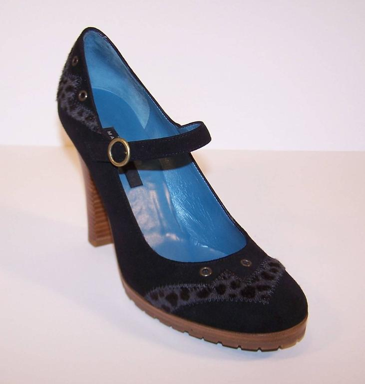 Wild & Woolly Marc Jacobs Black Suede Mary Jane Shoes With Animal Print Trim For Sale 2