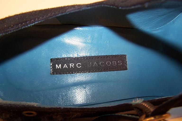 Wild & Woolly Marc Jacobs Black Suede Mary Jane Shoes With Animal Print Trim For Sale 6