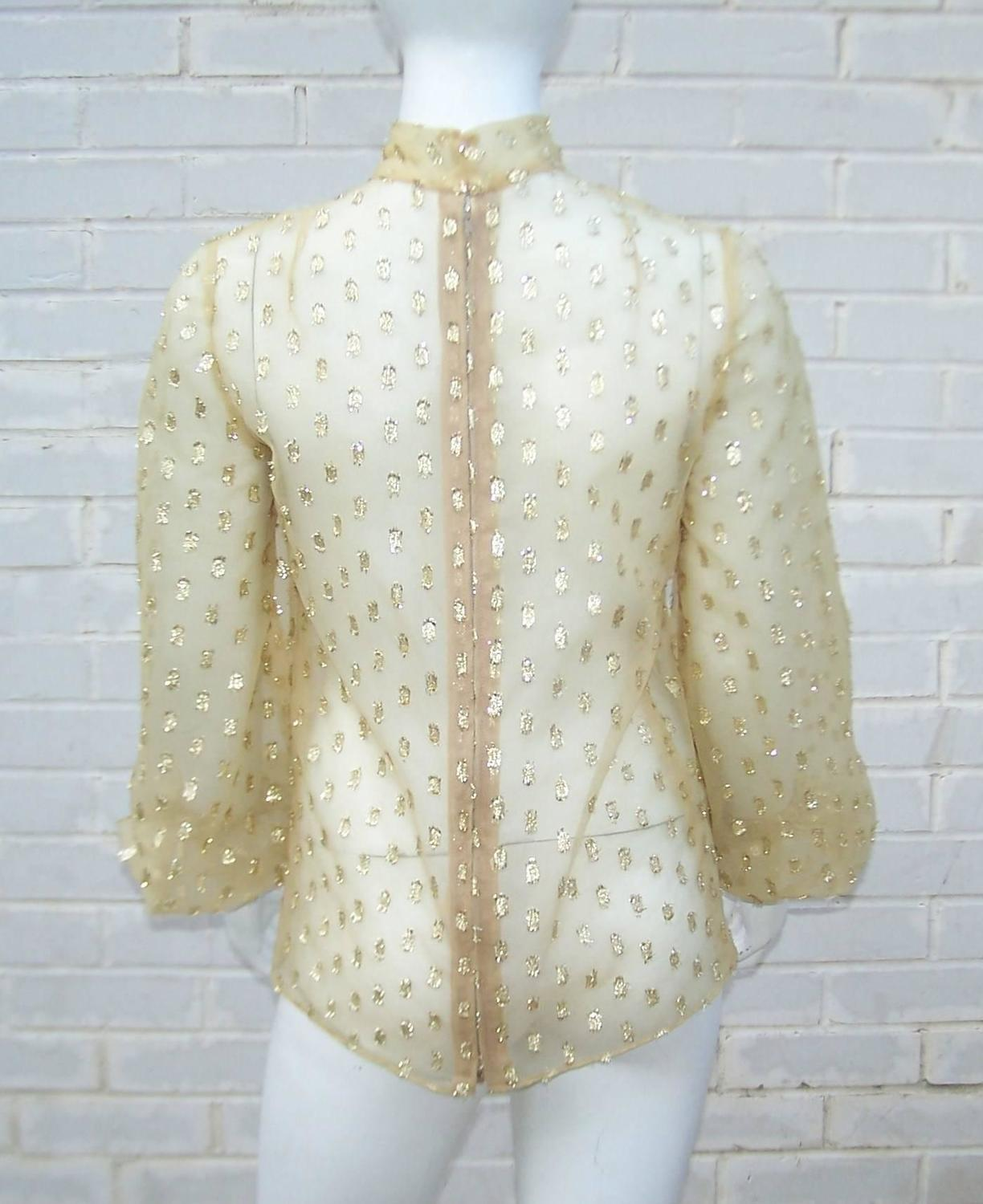 c 1970 sheer gold lame stock tie blouse for sale at 1stdibs