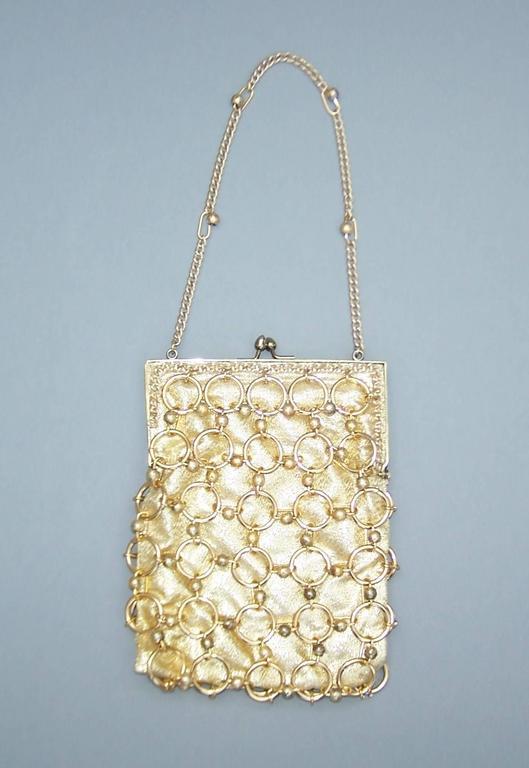 Swinging 1960 S Walborg Gold Chain Mail Evening Handbag At