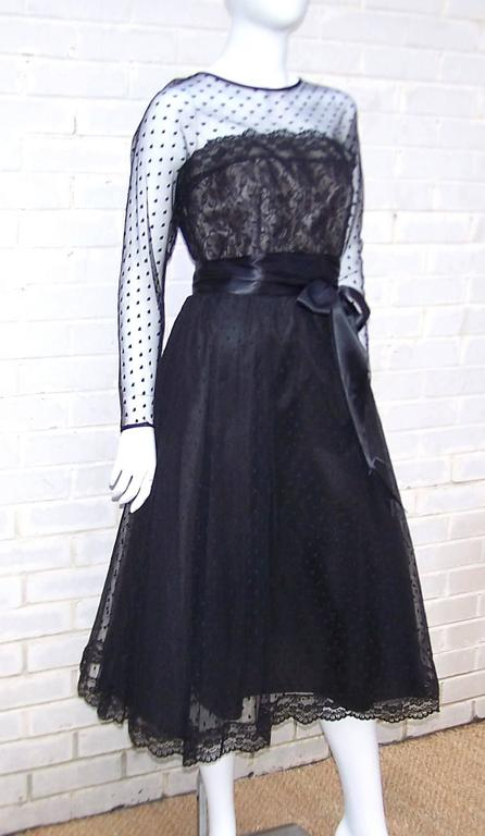 Classy & Classic C.1980 Victor Costa Black Lace Nude Illusion Dress In Excellent Condition For Sale In Atlanta, GA