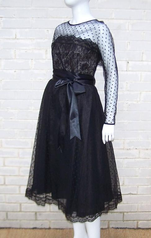 Women's Classy & Classic C.1980 Victor Costa Black Lace Nude Illusion Dress For Sale