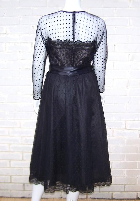 Classy & Classic C.1980 Victor Costa Black Lace Nude Illusion Dress For Sale 1
