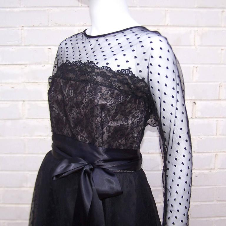 Classy & Classic C.1980 Victor Costa Black Lace Nude Illusion Dress For Sale 2