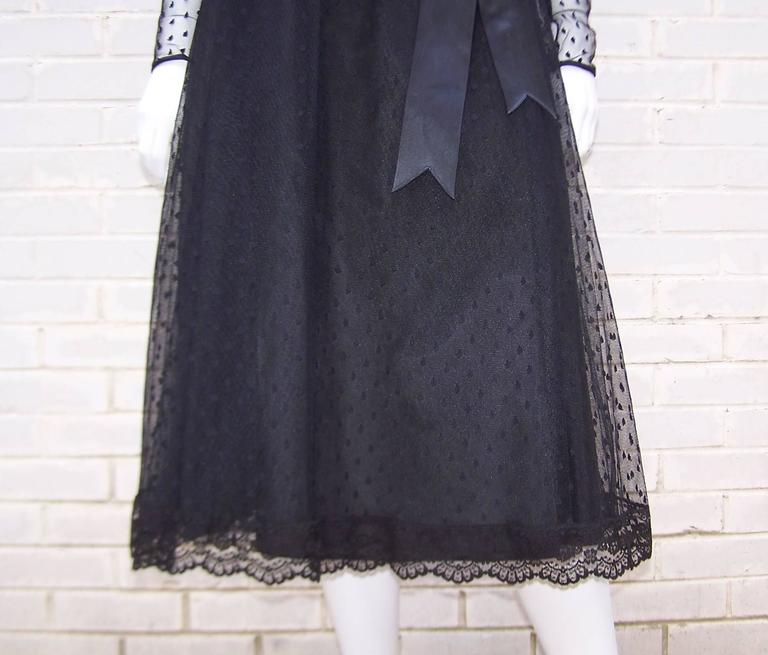 Classy & Classic C.1980 Victor Costa Black Lace Nude Illusion Dress For Sale 4