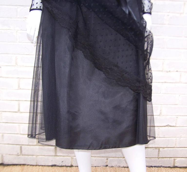 Classy & Classic C.1980 Victor Costa Black Lace Nude Illusion Dress For Sale 5