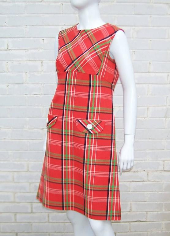 Women's Mod 1960's John Baldwin Plaid Jumper Style Dress With Matching Coat For Sale