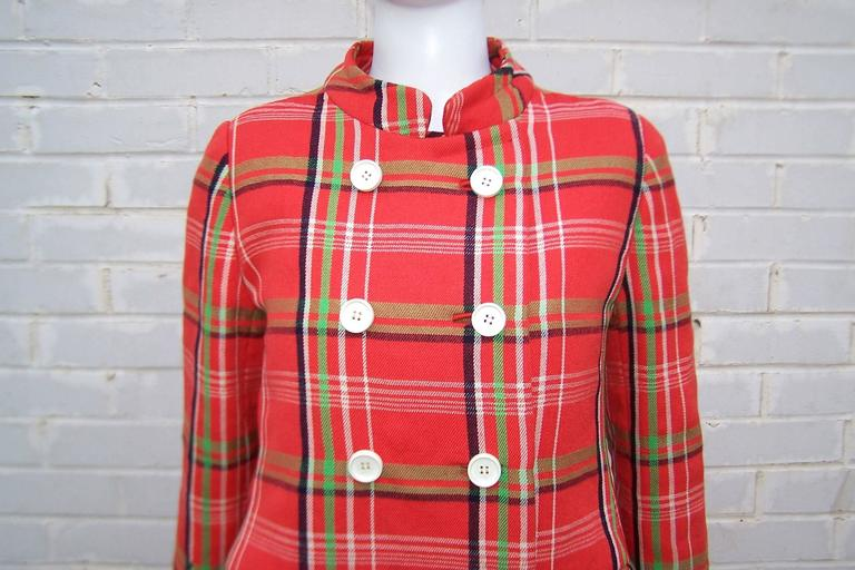 Mod 1960's John Baldwin Plaid Jumper Style Dress With Matching Coat For Sale 3