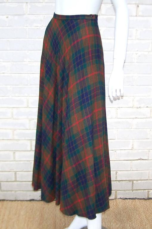 Black Mad For Plaid 1970's Wool Micro Pleated Maxi Skirt For Sale