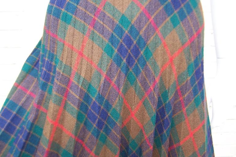 Mad For Plaid 1970's Wool Micro Pleated Maxi Skirt For Sale 1