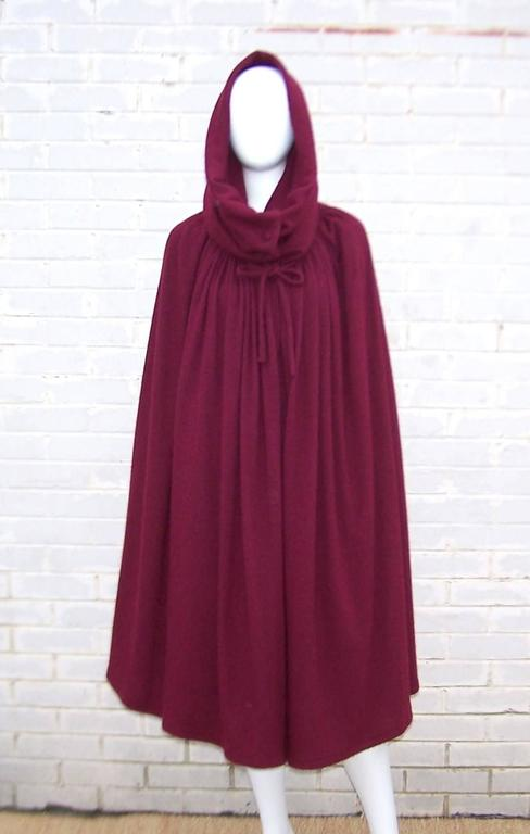 Purple Dramatic 1970's Valentino Aubergine Angora Wool Sweater Cape With Skirt For Sale